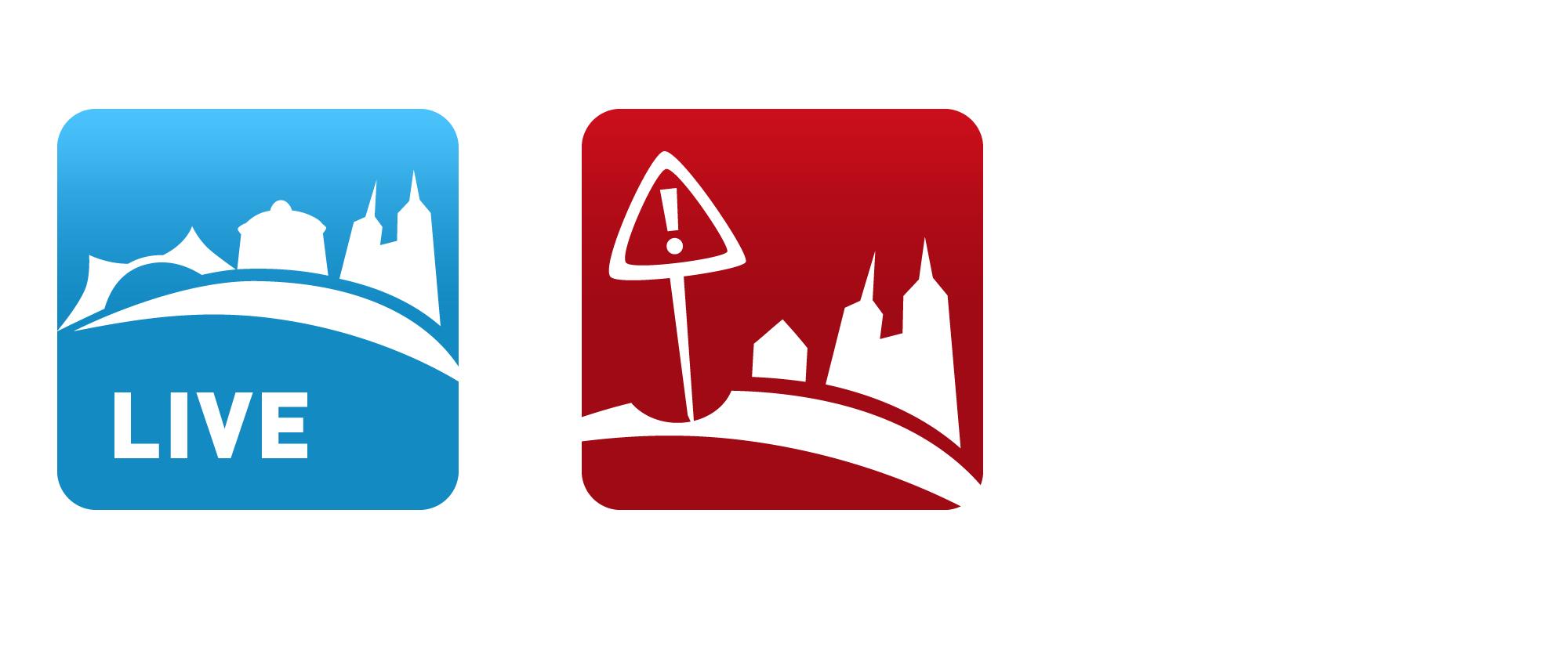 App-ikoner i Roskilde Kommune – Giv et praj og Roskilde Live